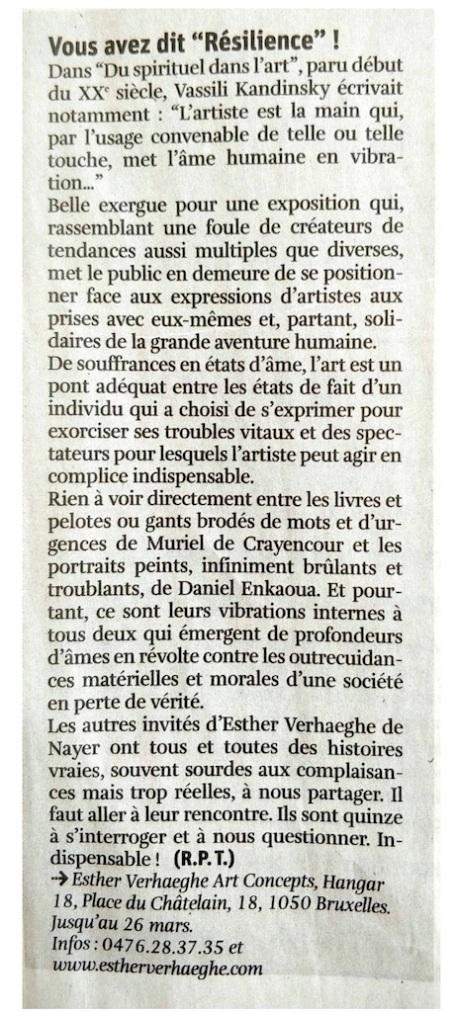 """Vous avez dit """"Résilience"""" !, Arts Libre, n°11, semaine du 15 au 21 mars 2017"""